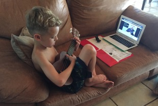 Music - Elliot teaching himself ukulele